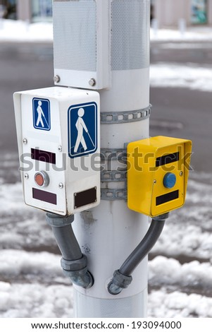 Symbol of disabled person over a pole - stock photo