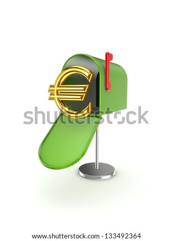 Symbol of euro in postbox.Isolated on white background.3d rendered. - stock photo
