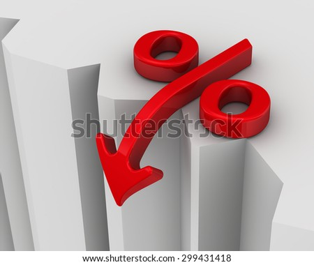 Symbol of falling interest rates near the precipice. Financial concept - stock photo