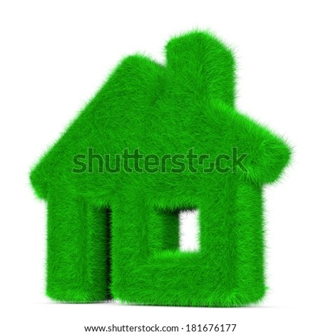 Symbol of green eco house made out of grass.