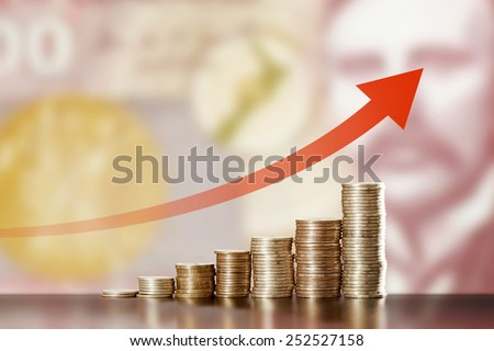 Symbol of inflation and currency fluctuations: Appreciation of the New Zealand dollars - stock photo