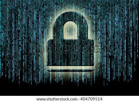 Symbol of internet security with binary character and padlock - stock photo