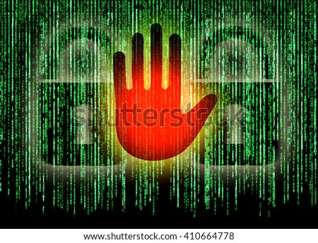 Symbol of internet security with binary character hand and padlock - stock photo