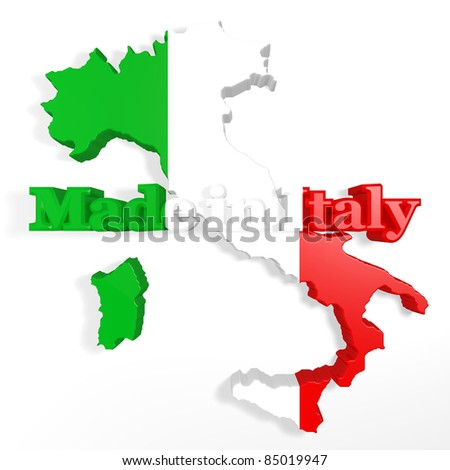 symbol of Italy in three dimensions with a written - stock photo