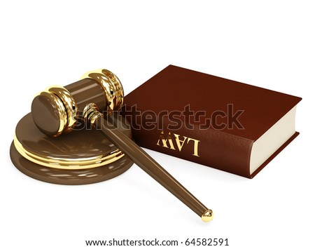Symbol of justice - judicial 3d gavel. Object over white - stock photo