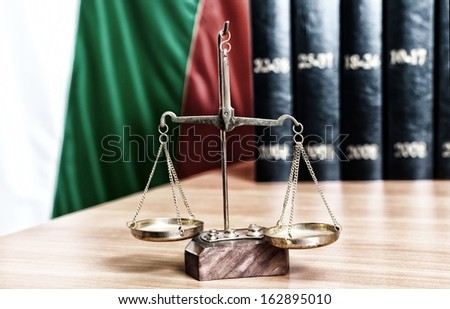 Symbol of law and justice and bulgarian flag - stock photo