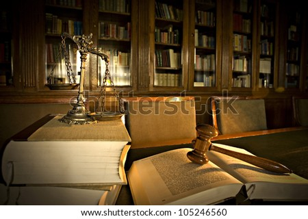 Symbol of law and justice in the library, law and justice concept - stock photo