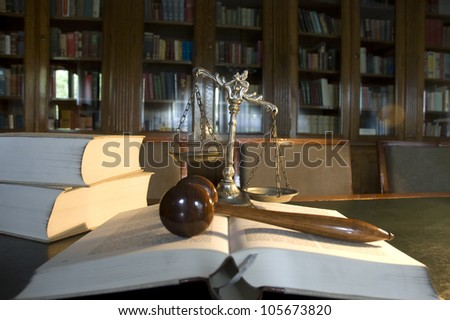 Symbol of law and justice in the library, law and justice concept