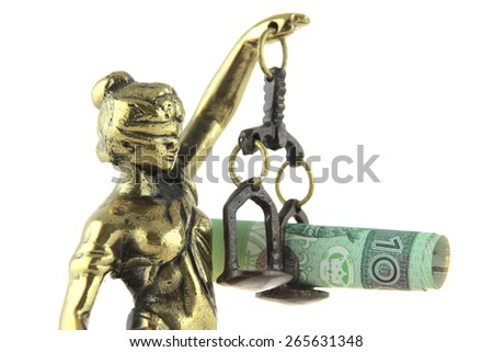 Symbol of law and justice. Justice Statue and polish banknote. - stock photo