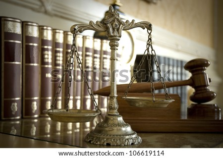 Symbol of law and justice, law and justice concept, focus on the scales - stock photo