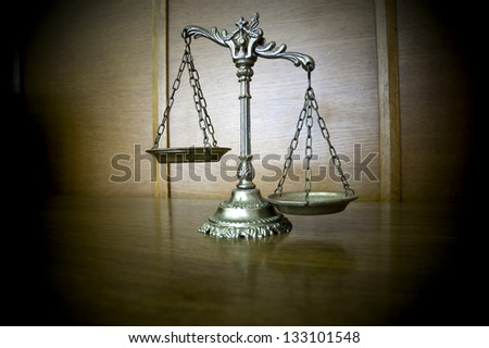 Symbol of law and justice on the table , law and justice concept - stock photo