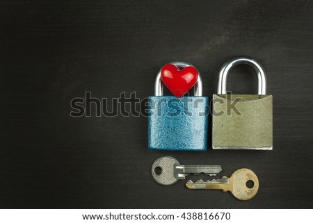 Symbol of love and happiness. Lock and heart. Key to the heart. Locked love.  - stock photo