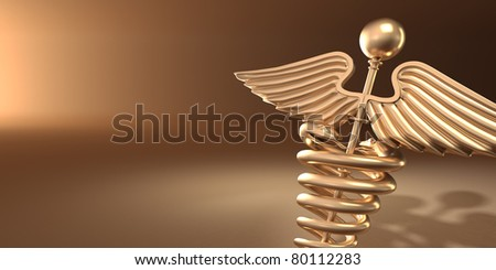 Symbol of medicine on yellow background. 3d - stock photo