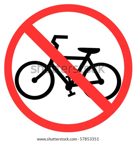 Symbol of No Bicycle Sign isolated on White - stock photo