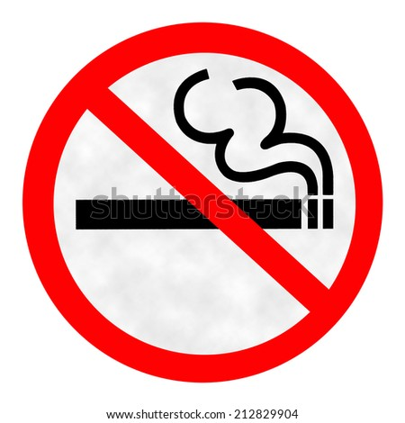 Symbol of No Smoking Zone Sign with Smoke background - stock photo