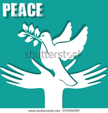 Symbol Peace Hands Dove Sprig Peace Stock Illustration 391046989