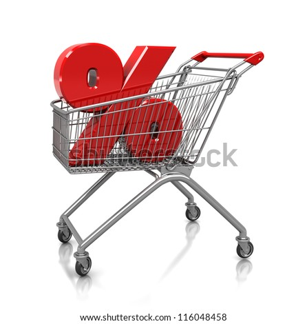 Symbol of percent placed in shop cart, 3d image
