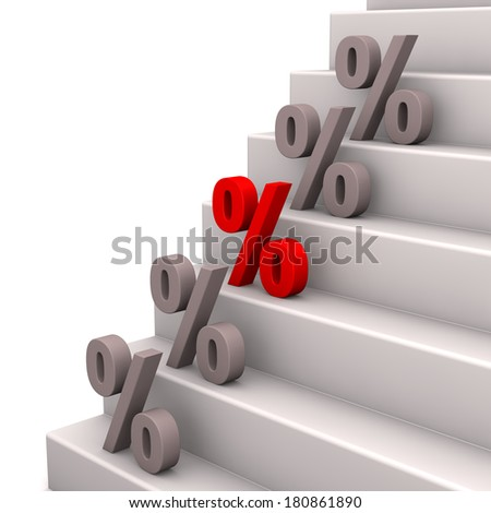 Symbol of percents on the stairway. White background. - stock photo