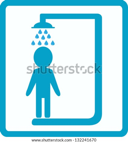 symbol of shower room with man silhouette - stock photo