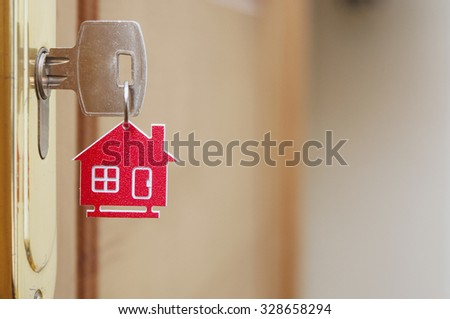 Symbol of the house and stick the key in the keyhole  - stock photo