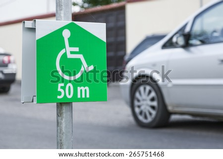 Symbol of the parking lot for a disabled person.  - stock photo
