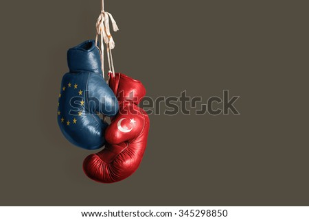 Symbol of the Politics between EU and Turkey  - stock photo