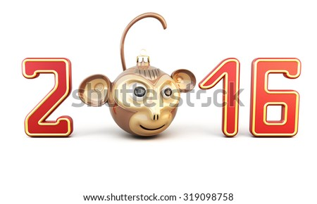 Symbol of the year 2016 on a white background. Christmas Toy monkey among digits. Conceptual image. 3d rendering - stock photo
