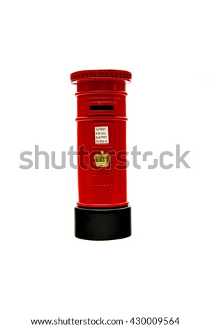 Symbol of United Kingdom - decorated red post box isolated on white background.