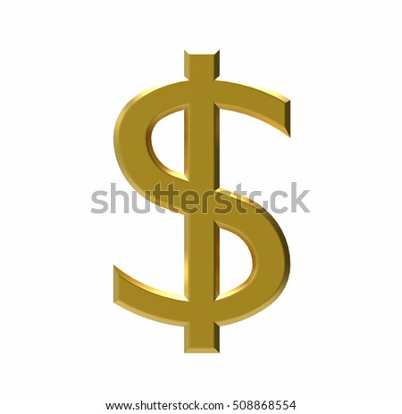 Symbol of US dollar, US currency, 3D rendering
