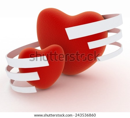 Symbol of valentines day.  Two hearts on  white background - stock photo