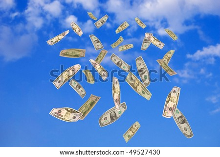 Symbol of wealth and success. Dollars falling from the blue sky. Welcome! More similar images available.