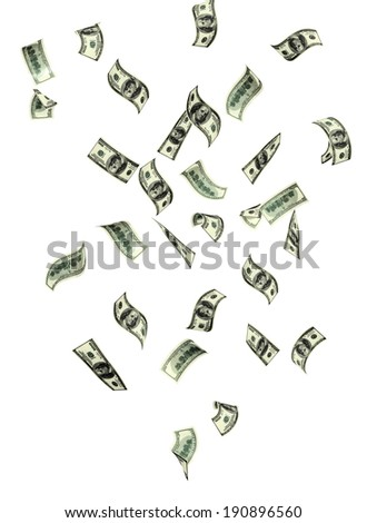 Symbol of wealth and success - rain from banknotes of dollars. Isolated on white background - stock photo