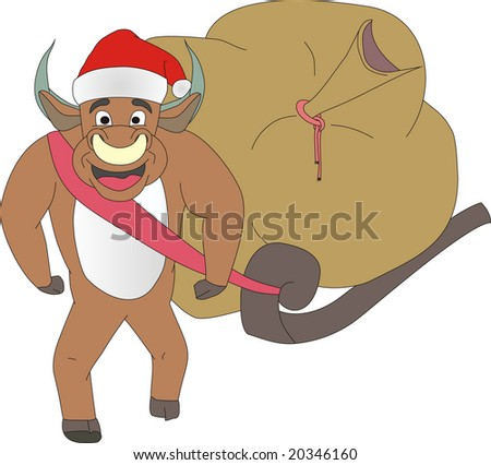 Symbol of Year the Bull drags a vehicle with gifts