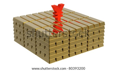 Symbol of yen on gold bars money concept - stock photo