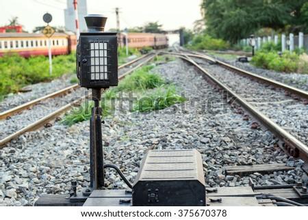 symbol on railway - stock photo