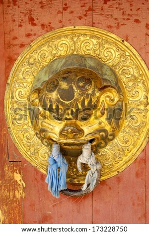 symbol on the entrance door to the temple of Erdene zuu in mongolia