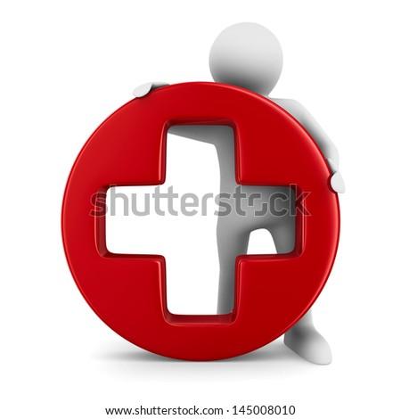 Symbol plus on white background. Isolated 3D image - stock photo