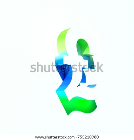 Symbol Pound Sterling Blue Green Abstract Stock Illustration