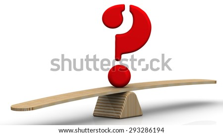 Symbol question mark on the scales. The scales in the equilibrium position. Concept of comparison - stock photo