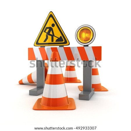 Symbol repair road and orange cones (done in 3d rendering)