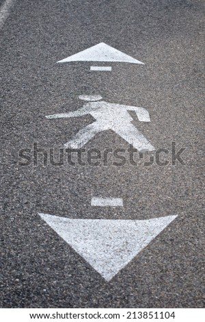 Symbol represents the lane for a walking path on a well-traveled asphalt road.