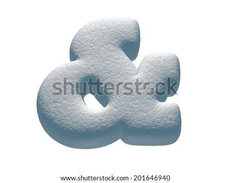 Symbol &. Snowball font isolated on White Background.