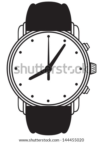 Symbol wristwatch isolated on white. Raster version - stock photo