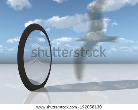 Symbolic bird and inter dimensional gate - stock photo