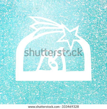 symbolic christmas crib scene - paper silhouette on textured background - stock photo