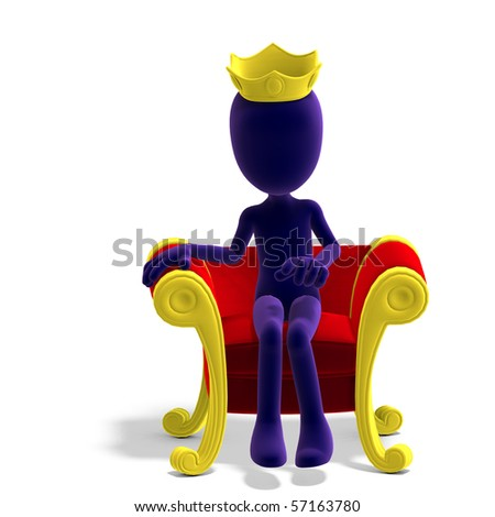 symbolic 3d male toon character as a king on his throne.3D rendering with clipping path and shadow over white - stock photo
