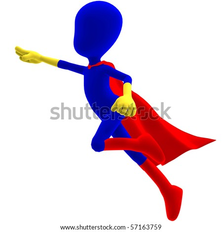 symbolic 3d male toon character as a super hero. 3D rendering with clipping path and shadow over white - stock photo
