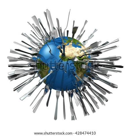 symbolic 3D rendering concerning growth of world population and food scarcity - stock photo