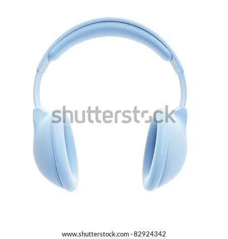 symbolic headphones, isolated 3d rendering - stock photo