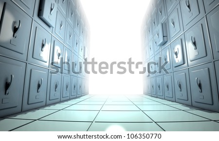 symbolic illustration of an hospital morgue and a bright white light - stock photo